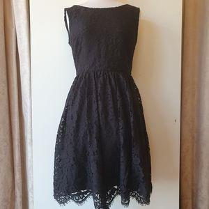 Forever New Black Lace Sleeveless Dress Size 8
